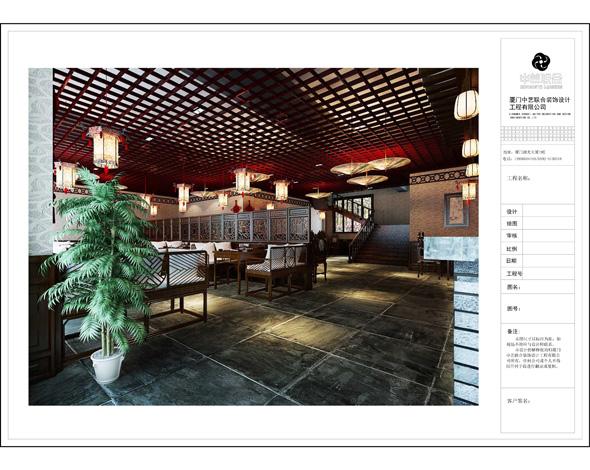 中式火鍋餐廳裝修設計效果圖角度一