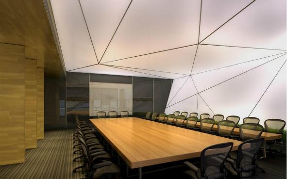 办公室装修天花设计有什么要求?  想要办公室内显得明亮和有秩序,那么在办公室装修中办公室天花设计就要考虑下面五大方面: (1) 在天花中布光要求照度高,多数情况使用日光灯,局部配合使用简灯。在设计中往往使用散点式,光带式和光棚式来布置灯光; (2) 天花中考虑好通风与恒温; (3) 设计天花时考虑好便于维修; (4) 天花造型不宜复杂,除经理室、会议室和接待室之外,多数情况采用平吊; (5) 办公室天花材料有多种,多数采用轻钢龙骨石膏板或埃特板,铝龙骨矿棉 板和轻钢龙骨铝扣板等,这些材料有防火性,而且有便