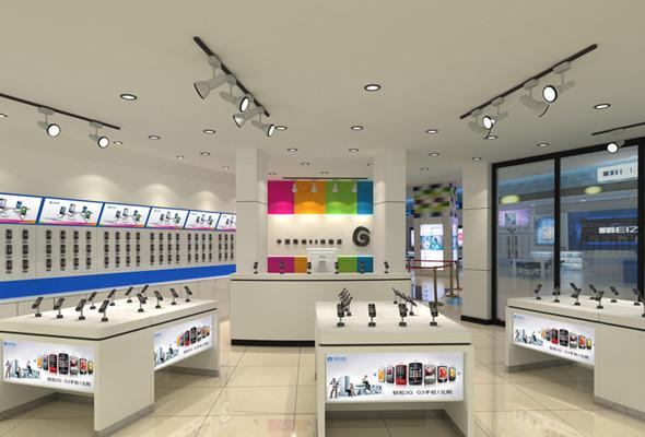 手机店铺装修设计,橱窗设计突显手机的特性